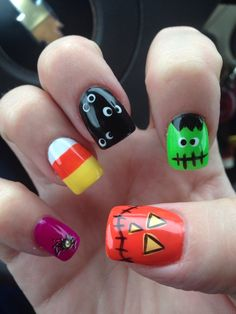 This is really good ideas because I don't know what kind of nail art I want to do for Halloween and this picture gaves me really good ideas and I probably do the candy corn because it's my favorite Halloween candy.If you go read this article you will learn how to do each of these desings.