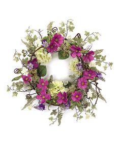 Look what I found on #zulily! Purple & Green Hydrangea & Cosmos Wreath #zulilyfinds