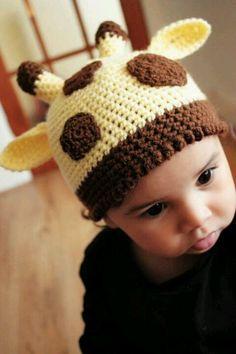 Too Cute. Baby Knitted Giraffe Hat.