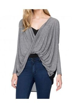 Grey and Black Stretch Jersey and Chiffon Front Draped Full Sleeved Top