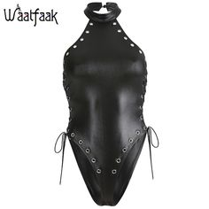 Halter Hollow Out Body Women Black Backless Bodysuit Bodycon Harajuku Pu Leather Jumpsuit Romper Summer Punk Color Black Size S Leather Bodysuit, Leather Jumpsuit, Black Bodysuit, Leather Pants, Bodysuit Fashion, Womens Bodysuit, Suits For Women, Sexy Women, Punk Fashion
