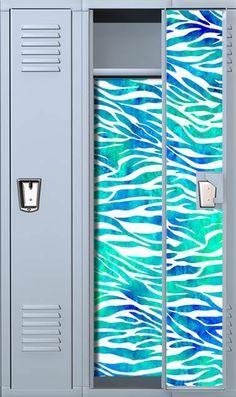 Zebra Print Teal Watercolor Magnetic Full Length School Locker
