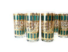 Lovely Reserved For Jordanfronk // Gold Culver Highball Glasses // Emerald Green U0026  Metallic Gold