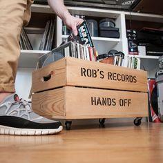 meuble vinyle : Caisse à roulettes range vinyls