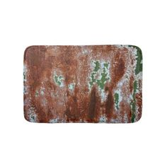 Green Chipping Paint Rusted Metal Pattern 3 Bathroom Mat