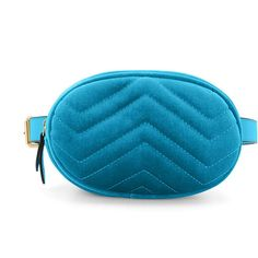 NYREE Quilted Velvet Waist Belt Bag (4.455 RUB) ❤ liked on Polyvore featuring bags, zip bag, velvet bag, blue bag, quilted bag and blue velvet bag