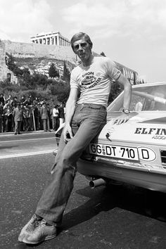 """Driver legend Walter  Rohrl with an Opel Ascona A400 during Rally Acropolis in 1975---In Italy, he was elected """"Rallye driver of the century"""". In France he was elected """"Rallye driver of the millennium"""" in November 2000. A jury out of 100 worldwide motorsports experts elected him """"Best Rallye driver ever"""" in Italy."""