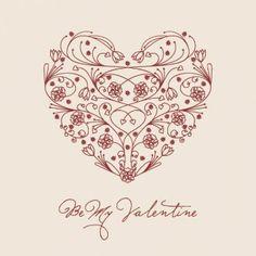 Floral valentine heart vector illustration