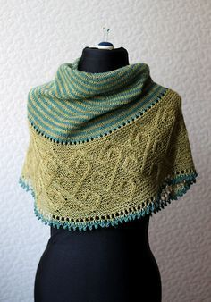 Ravelry: Carradal shawl by Lucy Hague, knitting pattern, celtic cable shawl series in two shades of green knitting