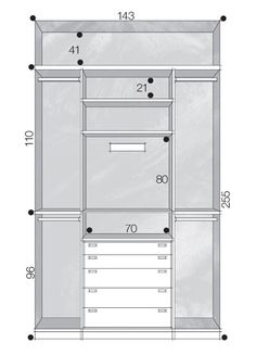 Projeto do armário com medidas.