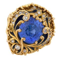 Marcus & Co. Old European Enamel Blue Sapphire Diamond Gold Ring | See more rare vintage Cocktail Rings at https://www.1stdibs.com/jewelry/rings/cocktail-rings