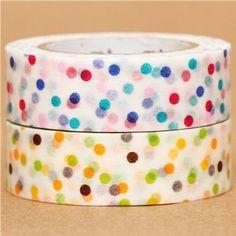 2 nastri adesivi decorativi Washi pois ottanio/gialli: Amazon.it: Giochi e giocattoli