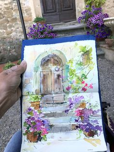 Cottage door and watercolor flower painting. Paint Online with Dreama! Learn more at DreamaTollePerry.com