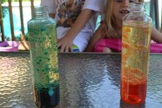 Homemade lava lamp. This would be such a fun activity to do with children. Totally non-toxic ingredients & they can play with it afterwards.