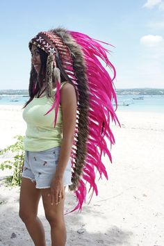 Large Hand Made Indian Headdress, Native American Warbonnet Real Leather and Feathers
