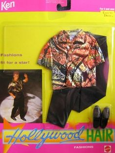 Barbie KEN HOLLYWOOD HAIR Fashion #3767 - Orange/Gold/Silver/Black Lame Shirt with Black Pants (1992) by Barbie