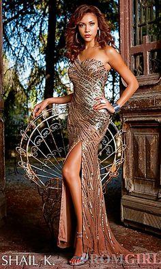 One Shoulder Sequin Prom Dress at PromGirl.com