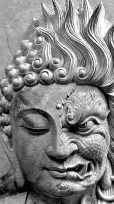 Dragon Yin Yang Tattoo, Hannya Mask Tattoo, Asian Sculptures, Henna Tattoo Hand, Black Art, Elbow Tattoos, Buddha Tattoos, Marionette, Buddha Sculpture