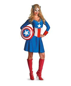 Flaunt a patriotic, crime-fighting persona in this flirty costume set. The flouncy dress flatters your shape, while an eye mask completes the iconic look.
