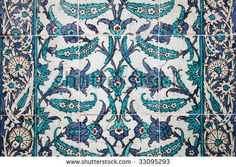 stock photo : Ancient tile pattern on ceramic wall in Topkapi Palace in Istanbul, Turkey
