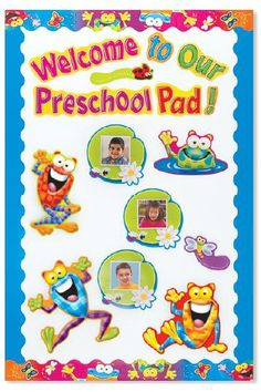 Take photos of students on the 1st day of school, & add them to Lily Pads. Complete your pond scene with frogs, bugs, fireflies, & a welcome message from the Frog-tastic!™ Welcome Phrases  Mini Bulletin Board Set - store.oblockbooks.... Frame with the Blue Terrific Trimmer - store.oblockbooks... & the Frog-tastic Frolic Terrific Trimmer - store.oblockbooks....
