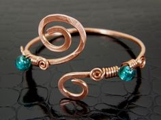 Womens Copper Upper Arm Cuff Bracelet Teal, Aqua Hand Crafted. , via Etsy.
