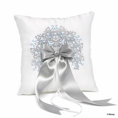 White Satin x ring pillow with silver and sky blue intricate embroidered design. Features a wide silver satin ribbon with wide white satin ribbon for tying rings. x Happily Ever After Ring Pillow Ring Bearer Pillows, Ring Pillows, Cinderella Ring, Cinderella Wedding, Rustic Ring Bearers, Disney Rings, Wedding Party Favors, Wedding Ideas, Wedding Inspiration