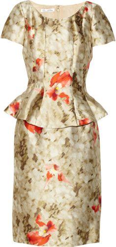 Oscar De La Renta Beige Floralprint Silkblend Dress