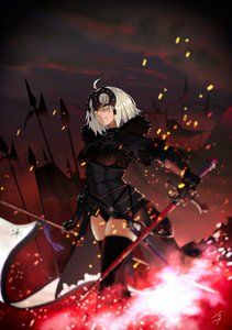 armor fate/grand_order hayabusa jeanne_d'arc jeanne_d'arc_(alter)_(fate) sword thighhighs [1174x1670]