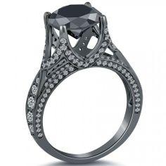 5.09 Carat Certified Natural Black Diamond Engagement Ring 18k Black Gold - Black Diamond Engagement Rings - Engagement - Lioridiamonds.com