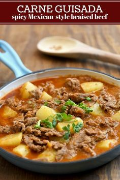 Braised beef and potatoes in tomatoes, onions, garlic, and jalapeno peppers for an easy weeknight dinner. Hearty and bold-flavored, this carne guisada is fantastic with rice!