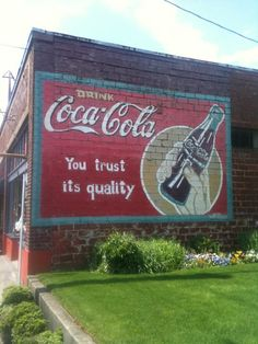 Coke sign painted on building Portland, Or