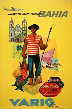 Bahia poster Varig Airlines, c. 1965