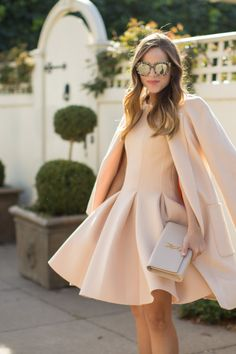 Monochromatic Neutrals - Julia wearing a Michael Kors Coat, Chicwish Dress c/o, Louboutin Shoes and Dolce & Gabbana Sunglasses.