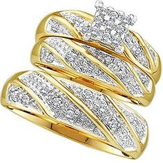 030 Carat ctw 10K Yellow Gold Round Cut Diamond Men  Womens Cluster Engagement Ring Trio Set 13 CT ** Want additional info? Click on the image.