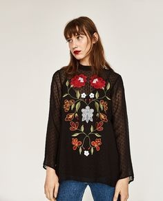 ZARA - COLLECTION SS/17 - EMBROIDERED PLUMETIS BLOUSE