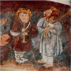 Pastores tocando la GAITA y el OBOE. (Detalle) S. XVI Iglesia de Proendos, Sober, Lugo