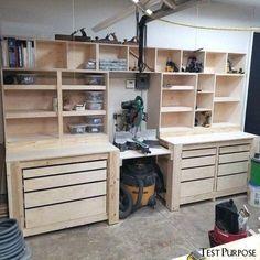 Garage Workshop Organization, Garage Tool Storage, Workshop Storage, Garage Tools, Organization Ideas, Workbench Organization, Garage Shop, Diy Garage Work Bench, Garage Shelving