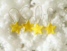 Stella gialla decorazione albero di Natale set di 4 porcellana fredda decoro di natale stella cometa dorata regalo natale