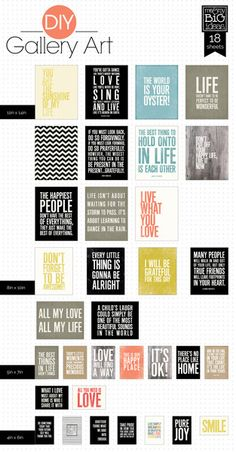 Simple Quotes from Me & My Big Ideas. Easy fast frame-able art!
