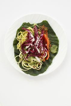 Thai Zucchini and Cucumber Noodle Collard Green Wraps with Almond Butter Sauce. Made 4/2015 - very good!