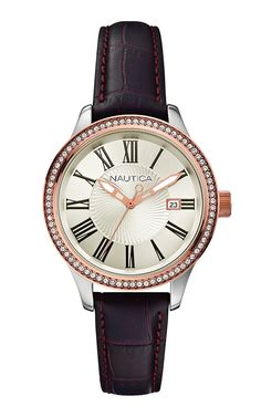 Nautica - Wristwatch, Analog Quartz, Leather, Women *** Want additional info for the watch? Click on the image.