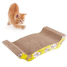 Geekercity Cat Scratcher - Premium Pet Kitty Cat Scratching Pad Catch Board Mat Cardboard Cat Lounge with Catnip [Pet Claws Care Toy ] *** Don't get left behind, see this great cat product : Cat scratcher Image Cat, Cat Scratcher, Claws, Lounge, Kitty, Pets, Board, Check, Airport Lounge