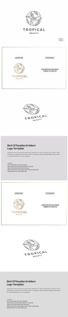 Bird Of Paradise Emblem Logo. Wedding Fonts. $30.00