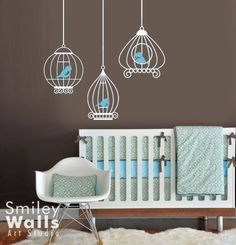 Nursery Vinyl Wall Decals Birds and Birdcage -GIFT BIRDS -Baby room sticker decal kids room decor art sticker wall decal. $32.00, via Etsy.