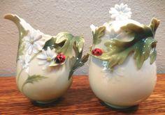 Franz Porcelain Tea: Creamer Sugar - Ladybug Collection daisy leaf SIGNED 2005