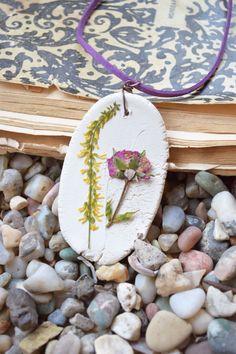 Dried flower necklace Girlfriend Resin jewelry ceramic