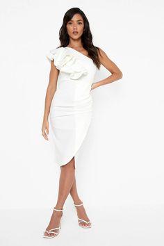 Frill Shoulder Midi Dress Scuba Fabric, Scuba Dress, Robes Midi, White Midi Dress, Costume, Bodycon Fashion, Mi Long, Fashion Face, No Frills