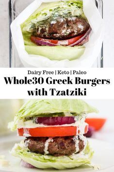 "Greek Aussie Grassfed Beef Burgers with tomato, red onion, and dairy free Tzatziki sauce on lettuce ""buns""! The perfect Whole30 and Keto friendly summertime meal. #grilling #aussiegrassfedbeef #whole30 #whole30recipes #whole30burgers #paleo #keto #ketorecipes #burgers #dairyfree"