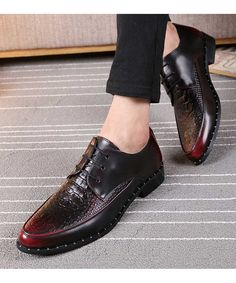 Men's #red leather Derby #DressShoe urban style, Crocodile skin pattern, Lace up, Point toe design, casual, work office occasions.